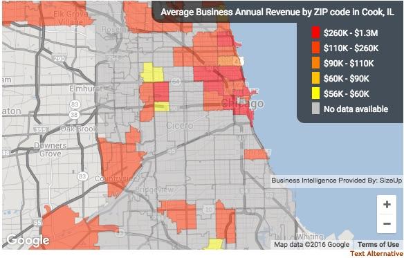 Sizeup revenue by zip code map